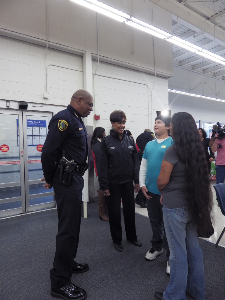 Chief McClelland visits with guests